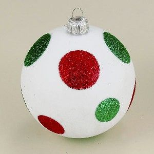 Red Decorative Balls 80Mm Shatterproof White Wgreen & Red Dots Decorative Balls 4Pc