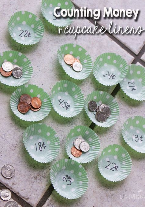 Math with Cupcake Liners: Counting Money Game. Customizable coin counting activity.