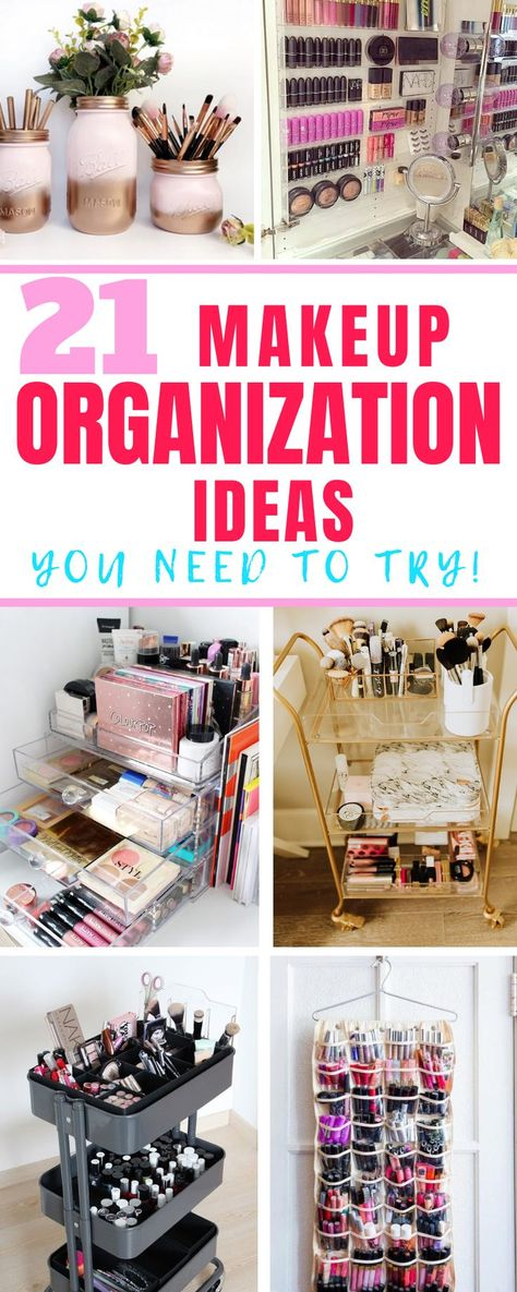 21 Creative Makeup Organization Ideas where you can declutter and organize any room in your house for cheap! These include makeup organization carts, DIY organization ideas, dollar tree makeup organiz Diy Makeup Organizer, Makeup Storage Organization, Bathroom Organization, Make Up Organization Ideas, Storage Organizers, Storage Ideas, Diy Makeup Storage Vanity, Makeup Organizing Hacks, Makeup Vanities