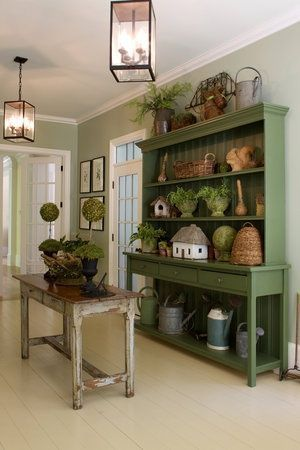 Eye For Design: Decorating Farmhouse Style With Green Painted Furniture wood furniture living room decorating ideas Primitive Furniture, Farmhouse Furniture, Farmhouse Decor, Country Furniture, Antique Furniture, Country Farmhouse, Vintage Farmhouse, Country Hutch, Vintage Hutch