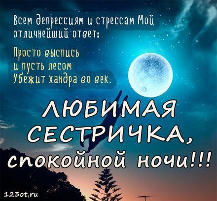 Dushevnaya Kartinka S Pozhelaniem Spokojnoj I Dobroj Nochi Dlya Sestry