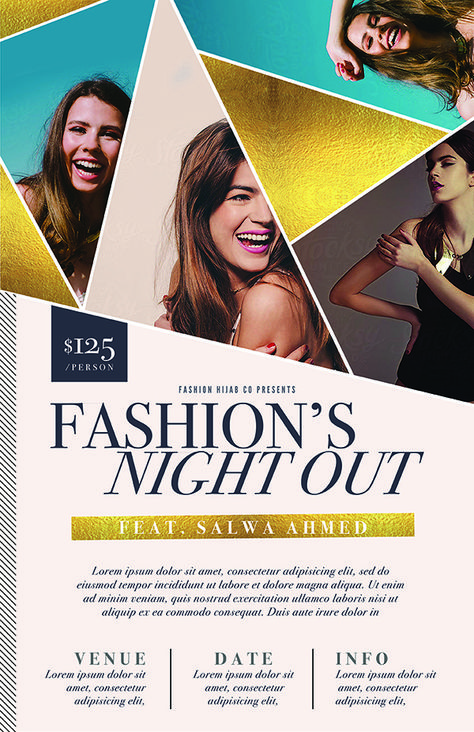 Gala Event Flyer Template PSD featuring a geometric design and gold foil. Great as a fashion week flyer or benefit dinner flyer - $12