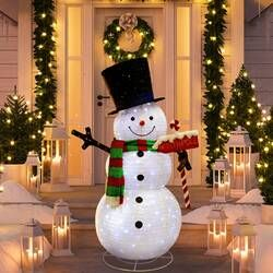 Snowman With Mistletoe Top Hat Scarf And Buttons Lighted Display Snowman Outdoor Decorations Outdoor Christmas Decorations Outdoor Christmas
