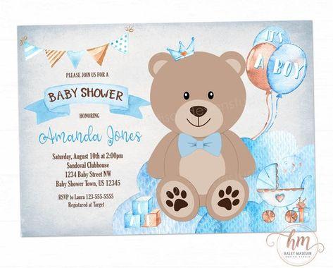 Teddy Bear Baby shower invitation, It's a Boy baby shower, Baby Blue baby shower invitation, Boy bab