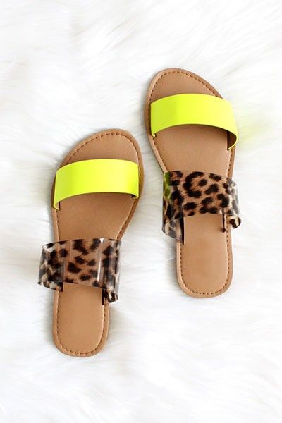clear and leopard sandals