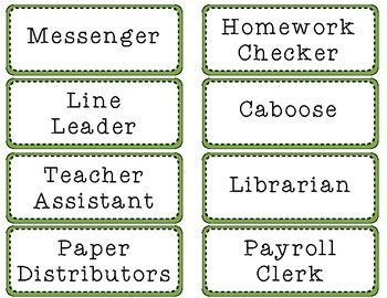 Classroom Job Signs    Simple Student And Pocket Charts