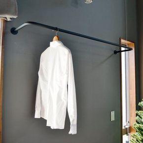 ノーブランド品 アイアン製の物干しパイプ 壁付け 天井吊 洗濯 物干し