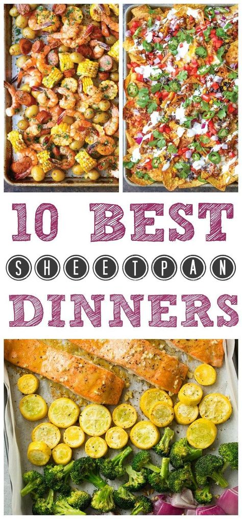 The 10 BEST Sheet Pan Dinners for easy and quick weeknight meals. 10 Best Sheet Pan Dinners collection is full of easy, quick recipes that will make weeknight dinners a breeze! Sheet Pans are the perfect dinner hack! Quick Weeknight Meals, Quick Healthy Meals, Quick Dinner Recipes, Easy Dinners For One, Quick Dinners For Two, Kid Recipes, Dinner Healthy, Paleo Dinner, Healthy Food