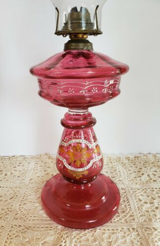 Antique C 1800 S Cranberry Glass Hand Blown Painted Pedestal Kerosene Lamp Ebay Kerosene Lamp Cranberry Glass Kerosene