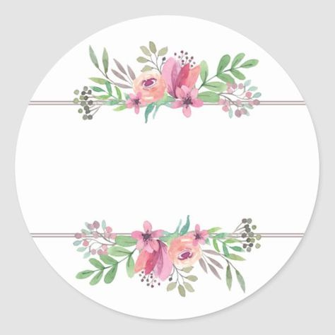 Watercolor Flowers In Pink Circle Address Sticker Zazzle Com In 2020 Floral Border Design Watercolor Flowers Flower Circle
