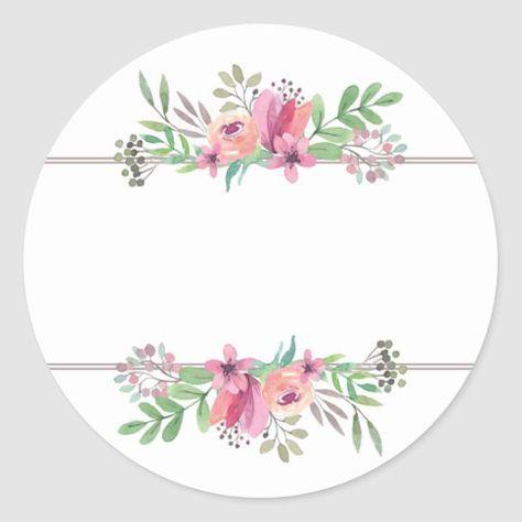 Watercolor Flowers In Pink Circle Address Sticker Zazzle Com Em 2021 Aquarela Floral Logotipo Floral Etiquetas Para Artesanato