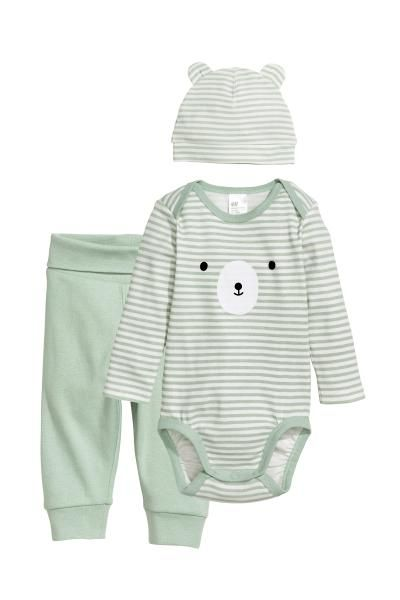 bambino materiali di alta qualità vendita professionale Set neonato in jersey - Verde chiaro/orsetto - BAMBINO | H&M ...