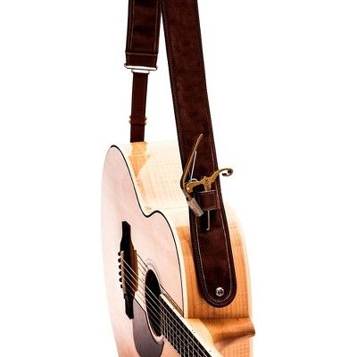 Kyser Leather Guitar Strap With Capo Keeper Brown 2 In In 2020 Leather Guitar Straps Guitar Strap Leather