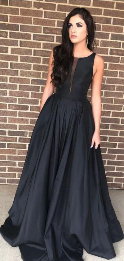 Elegant Black Long Prom Dress Party Dress Formal Evening Dresses Elegant Black Prom Dresses Prom Dresses Long Black Simple Evening Gown