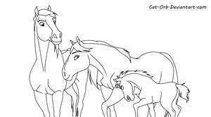 Spirit Family Lineart By Cat Bells Horse Coloring Pages Spirit The Horse Spirit Drawing