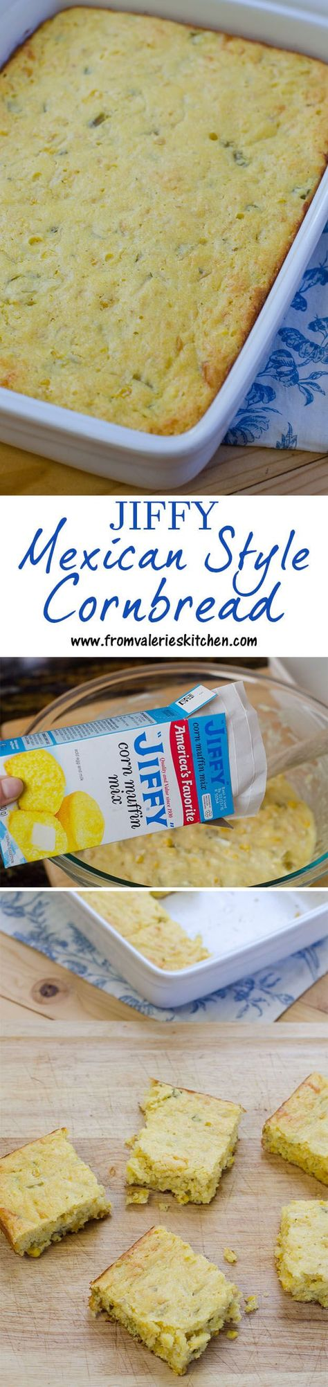 Jazz up packaged corn muffin mix to make this flavorful Mexican style cornbread! ~ http://www.fromvalerieskitchen.com