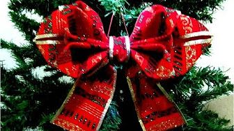 Diy Moños Flores Y Lazos De Navidad En Cintas Ribbons And Bows Christmas Flowers You Cómo Hacer Moños Navideños Moños Navideños Para Arbol Como Hacer Moños