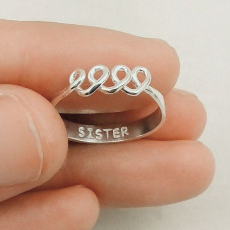 Sister Ring, Best Friend Ring, Personalized Ring, For 3, Three, Best Friend Gift, Sister Gift, Initial Ring, Sisters Personalized Jewelry by JewelryRB on Etsy https://www.etsy.com/listing/263285207/sister-ring-best-friend-ring