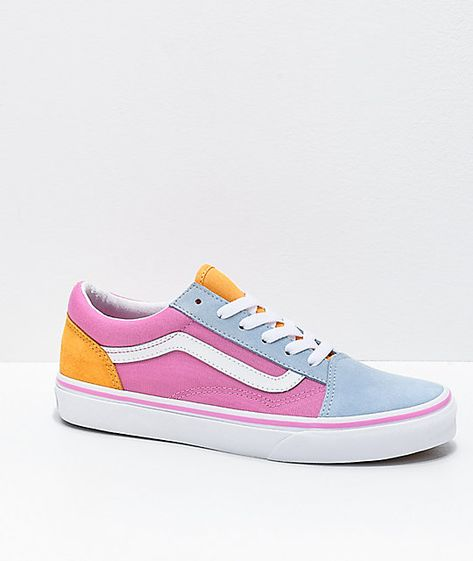 Pick up some solid color for your sneaker collection with the Old Skool colorblock pink, orange and light blue skate shoes from Vans! These colorblocked sneakers feature a unique pastel palette throughout, with pink canvas sidewalls, a light blue suede to Vans Shoes Outfit, Vans Shoes Fashion, Fashion Boots, Pastel Vans, Pink Vans, Pastel Shoes, Teen Girl Shoes, Shoes For Girls, Cute Sneakers