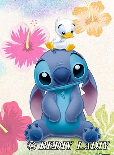 5d Diamond Painting Stitch And Duckling Kit In 2020 Disney