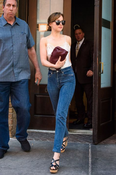 The actress Dakota Johnson stepped out in an alternative to the omnipresent crop top from the summer of 2017.