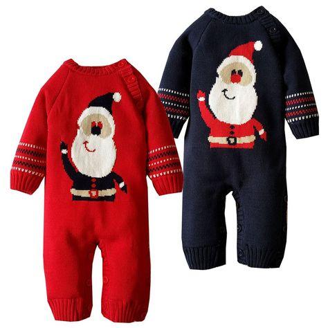 898d2e9df3c1 2-Color Thickened Coral Velvet Baby Christmas Santa Romper For ...
