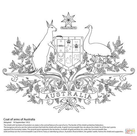 Australian Coat Of Arms Super Coloring Australian Coat Of Arms