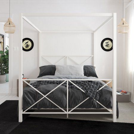 Dhp Rosedale Metal Canopy Bed Full Size White Brielle