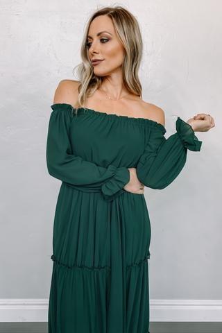 Hunter Green Boho Dress