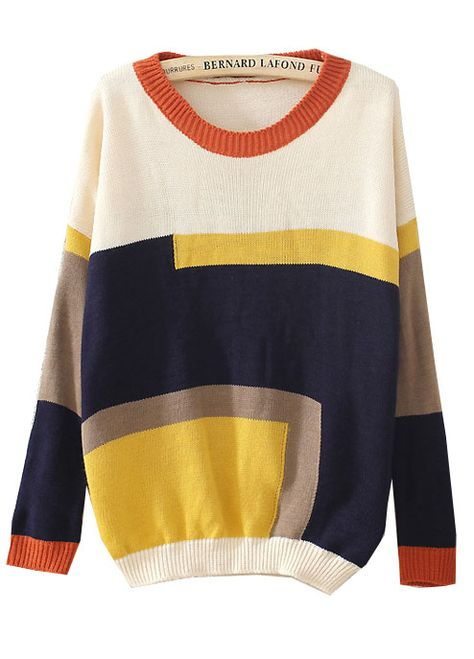 Beige Long Sleeve Contrast Geometric Sweater US$22.79