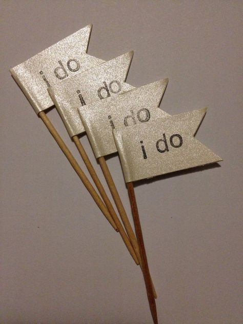 12 Gold Shimmer I Do wedding Cupcake Picks by CovetedCakery, $5.00