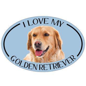 I Love My Golden Retriever Colorful Oval Magnet Goldenretriever