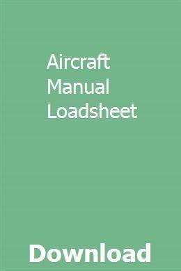 Aircraft Manual Loadsheet Aircraft Manual Alternator