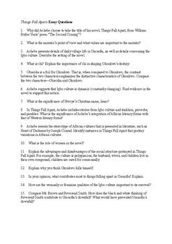 chinua achebe things fall apart   post reading essay and  this handout contains a slew of well chosen essay and discussion questions  for things