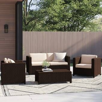 Abby 4 Piece Sectional Seating Group With Cushions Outdoor Sofa Sets Seating Groups Backyard Seating