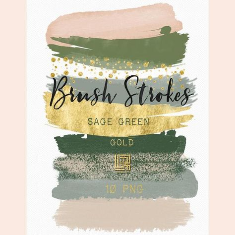 Sage green. Gold glitter. Brush Strokes Clip Art . Watercolorclip art. Digital Design Resource
