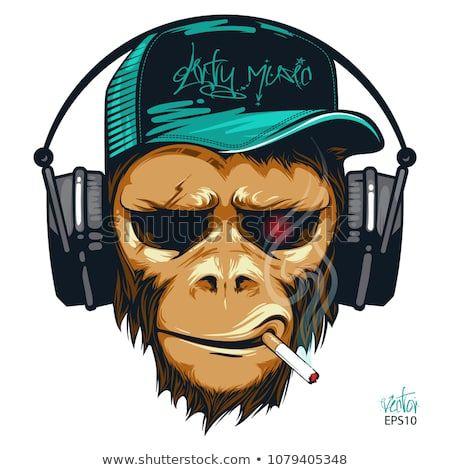 Music Fan Hipster Monkey In Headphone Dj Chimpanzee Hipster