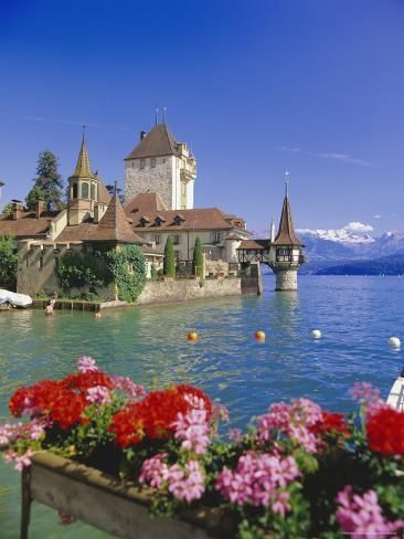 size: Photographic Print: Lake Thun (Thunersee) and Oberhofen Castle, Bernese Oberland, Switzerland, Europe by Simon Harris : Artists Beautiful Places To Travel, Beautiful World, Lake Thun, Beautiful Landscapes, Places To See, Scenery, Around The Worlds, Vacation, Thun Switzerland