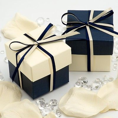 Navy Blue and Ivory Silk Square Boxes Lids Wedding Favour Boxes