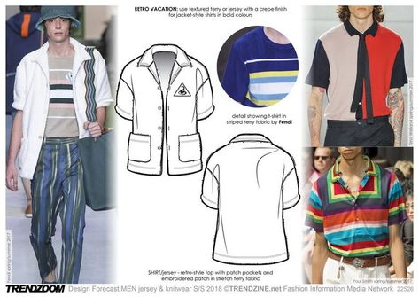Trendzoom: Design Forecast MEN Jersey & Knitwear S/S 18 - Trends (#820329) polo shirt, stretch terry retro vibe, new tech knits