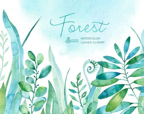 Forest Watercolor Leaves 18 Handpainted Clipart By Octopusartis