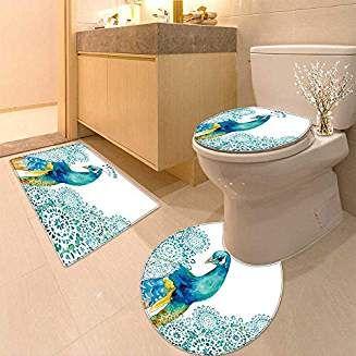 Huawuhome U Shaped Toilet Floor Rug Set Big Bird And Peacock Flowers 3 Piece Bathroom Rug Set Bathroom Rug Sets Rugs Bathroom Rugs