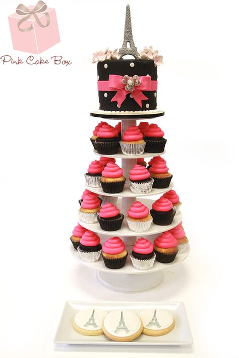 French Themed Sweet 16 Cupcake Tower by Pink Cake Box in Denville, NJ.  More photos and videos at http://blog.pinkcakebox.com/french-themed-sweet-16-cupcake-tower-2013-01-17.htm