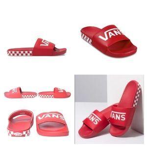 Vans checkered, Red slides, Sandals