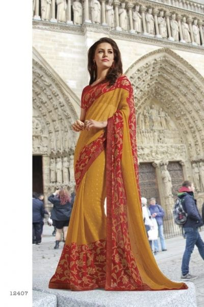 dabf7b9af #red #yellow #colourful #weaving #chiffon #subhash #sarees | red and yellow  weaving chiffon subhash sarees | fabric cotton silk | party wear |  occaional ...