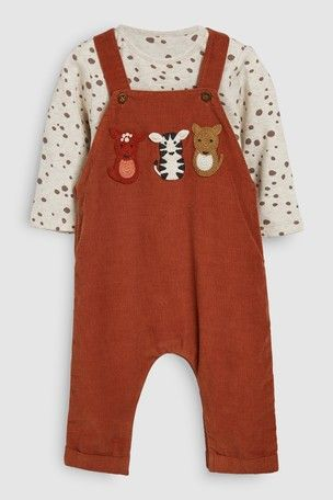Tan Animal Cord Dungaree And Bodysuit Set 0mths 2yrs In 2020 Dungarees Shopping