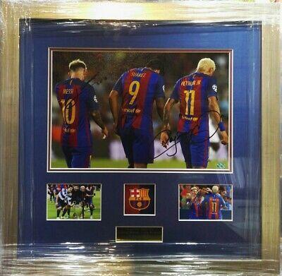 Advertisement Ebay Messi Neymar Suarez Barcelona Triple Hand Signed 8x10 Photo Collage Frame Coa Framed Photo Collage Photo Collage Collage Frames
