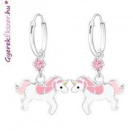 Sterling Silver Childrens Girls Glitter UNICORN Stud Earrings Pink Macaroon Box