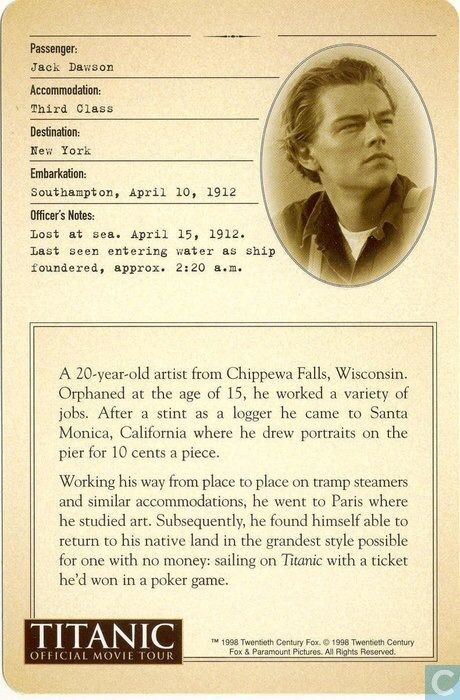 Back covers and character information for Titanic cards: fictional characters.    From catawiki.com