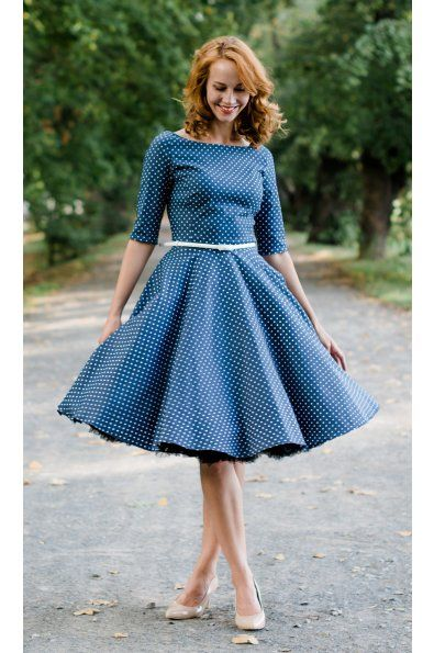 dd9bf65c0 ADELE retro šaty denim s bodkami   oblecko, topky v roku 2019   Šitie